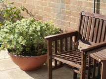 Garden seat with plant stock photo