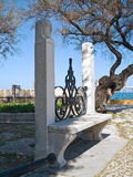 Garden seat in the Public park of Trani. Apulia.