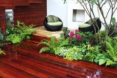 Garden seats. With fresh plants Royalty Free Stock Photography