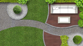 Garden seen from above with furniture Royalty Free Stock Images