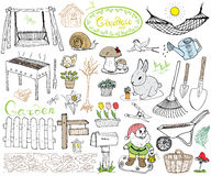 Garden set doodles elements. Hand drawn sketch with gardening tools, flovers and plants, garden figures, gnome mushrooms, rabbit, Royalty Free Stock Photography