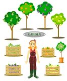 garden set with a gardener, trees and boxes stock illustration