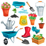 Garden Set With Sprout And Inventory Royalty Free Stock Photo