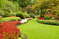 Garden setting. Garden view in park setting Royalty Free Stock Photos