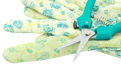 Garden shears and Gloves Stock Photo