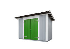 Garden shed. Colorful garden shed on white Stock Photo