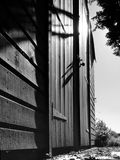Garden Shed. Low angle black and white garden shed Royalty Free Stock Photo
