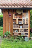 Garden shed with insect hotel Royalty Free Stock Photo