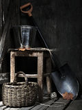 Garden shed with tools. Old shed with garden tools. Still-life Royalty Free Stock Image