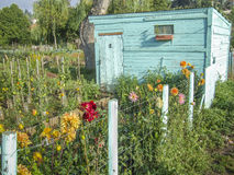 Garden shed in a vegetable garden, France Stock Photography