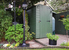 Garden Shed and Victorian Lamp Stock Photos