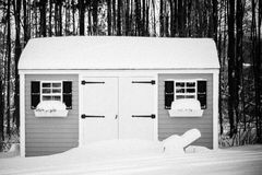 Garden Shed in wintery Boston stock image