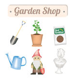 Garden shop object with shovel tree plant fertilizer watering can gnome and garden decorative statue Stock Image