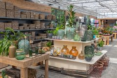 Garden shop selling plants and accessories like flower pots Royalty Free Stock Image