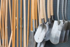 Garden shop with wooden spades Stock Photos