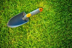 Garden Shovel on a Grass Royalty Free Stock Images