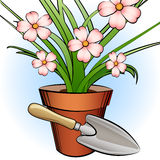 Garden shovel and window plant Royalty Free Stock Image