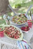 Garden side dishes. Summertime table scape with strawberries and salads Royalty Free Stock Photos