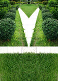 Garden side walk green field. Use as background royalty free stock photos