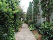 Garden sidewalk royalty free stock images