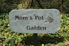 Garden Sign. Sign in a garden that says mom's pot garden Royalty Free Stock Photography