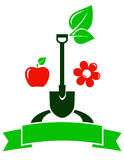 Garden sign with fruit and flower Stock Image