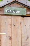 Garden sign. Life is better in the garden stock photo