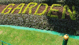 Garden sign with trimmed plant. In the ooty, tamilnadu, india Royalty Free Stock Photo