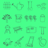 Garden simple outline symbols and icons eps10 Stock Photography
