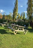 Garden and sitting groups. Wood royalty free stock photography