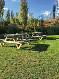 Garden and sitting groups. Wood stock image