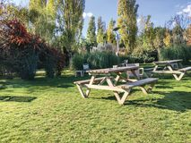 Garden and sitting groups. Wood royalty free stock images