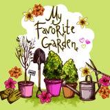 Garden Sketch Set Stock Photos