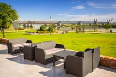 Garden sofa at Vistula river in Tczew. Poland Royalty Free Stock Photography