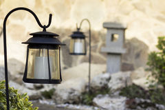 Garden with solar lamps Stock Images