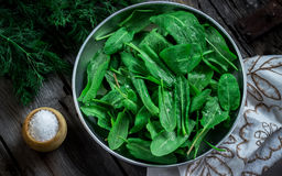 Garden sorrel in a bowl on wooden table. Style rustic. Selective focus Stock Photography
