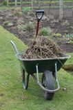 Garden spade and wheelbarrow. Royalty Free Stock Photo