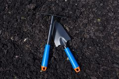 Garden spatula and rake on ground. Gardening. stock image