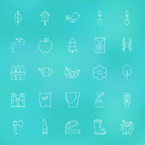 Garden Spring Line Icons Set over Blurred Background Stock Photos