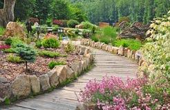 Garden path, spring nature Stock Photo