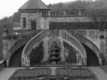 Garden stairs. Pretty symmetric stone stairs in the garden of Würzburg's castle Stock Images