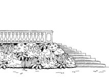 Garden stairs graphic art park black white landscape sketch illustration Royalty Free Stock Photography