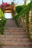 Garden Stairway with Floral Trellis Stock Photos