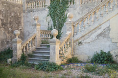 Garden stairways of a abandoned old mansion Stock Photo