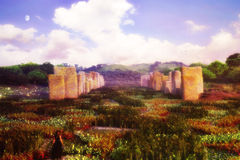 Garden Of Standing Stones. Is a high quality and detailed illustration of a unique natural environment Royalty Free Stock Photo