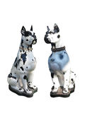 Garden statue of two dogs isolated over white Royalty Free Stock Image