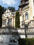Garden statues of Peles castle, Transylvania. Beautiful gardens of Peles castle in Carpathian mountains in Transylvania Royalty Free Stock Photos