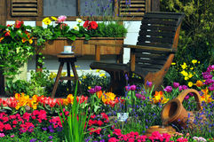Garden still Life. Beautiful and natural settings in the garden stock photo