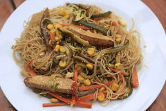 Garden Stir fry - Vegetarian. Garden stir fry with rice noodles and tofu. Nice crispy stir fry with seasonal vegetables and marinated tofu Royalty Free Stock Images