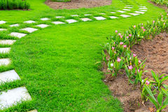Garden stone foot path with grass Royalty Free Stock Images
